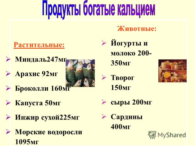 Животные: Йогурты и молоко 200- 350мг Творог 150мг сыры 200мг Сардины 400мг Растительные: Миндаль247мг Арахис 92мг Броколли 160мг Капуста 50мг Инжир сухой225мг Морские водоросли 1095мг