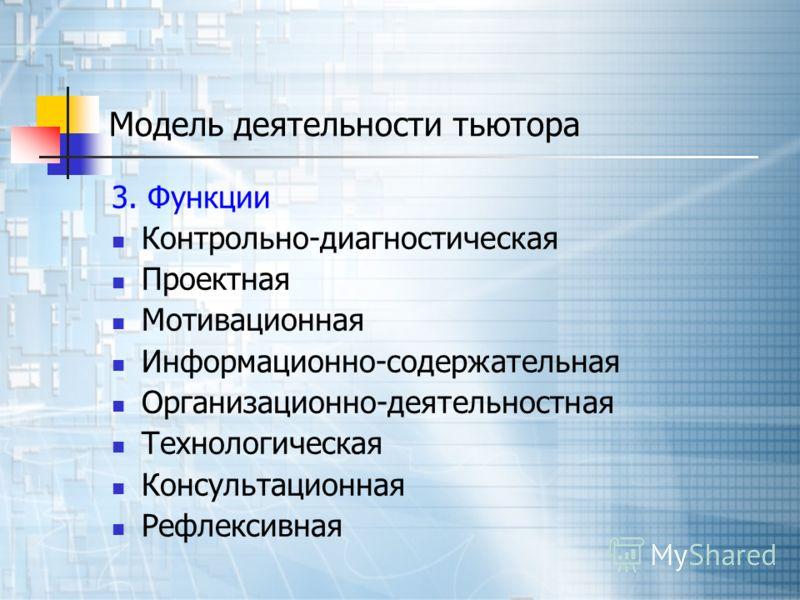Модель деятельности тьютора 3. Функции Контрольно-диагностическая Проектная Мотивационная Информационно-содержательная Организационно-деятельностная Технологическая Консультационная Рефлексивная