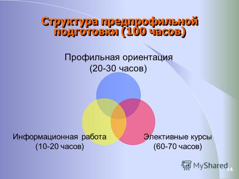 14 Структура предпрофильной подготовки (100 часов) Профильная ориентация (20-30 часов) Элективные курсы (60-70 часов) Информационная работа (10-20 часов)