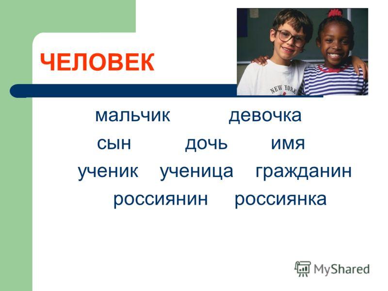 ЧЕЛОВЕК мальчик девочка сын дочь имя ученик ученица гражданин россиянин россиянка