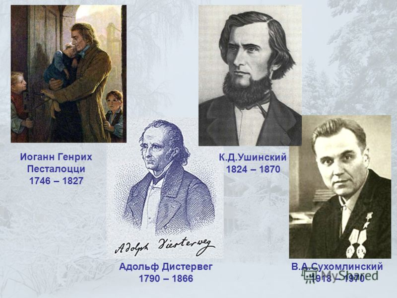 Иоганн Генрих Песталоцци 1746 – 1827 Адольф Дистервег 1790 – 1866 К.Д.Ушинский 1824 – 1870 В.А.Сухомлинский 1918 – 1970