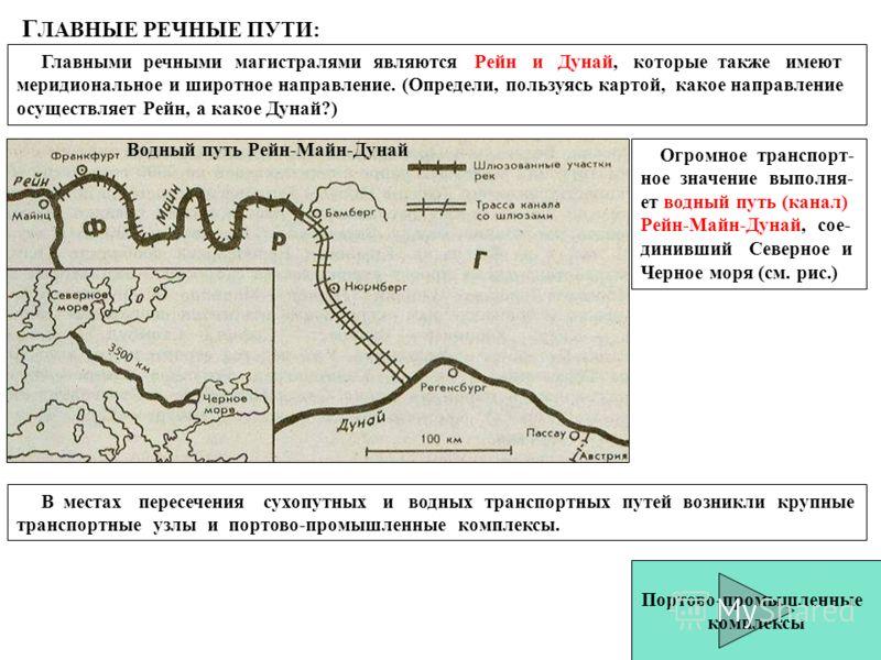 Г ЛАВНЫЕ РЕЧНЫЕ ПУТИ: Главными речными магистралями являются Рейн и Дунай, которые также имеют меридиональное и широтное направление. (Определи, пользуясь картой, какое направление осуществляет Рейн, а какое Дунай?) Огромное транспорт- ное значение в