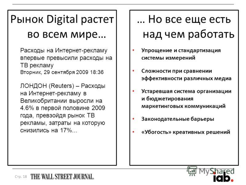 Рынок Digital растет во всем мире… … Но все еще есть над чем работать Упрощение и стандартизация системы измерений Сложности при сравнении эффективности различных медиа Устаревшая система организации и бюджетирования маркетинговых коммуникаций Законо