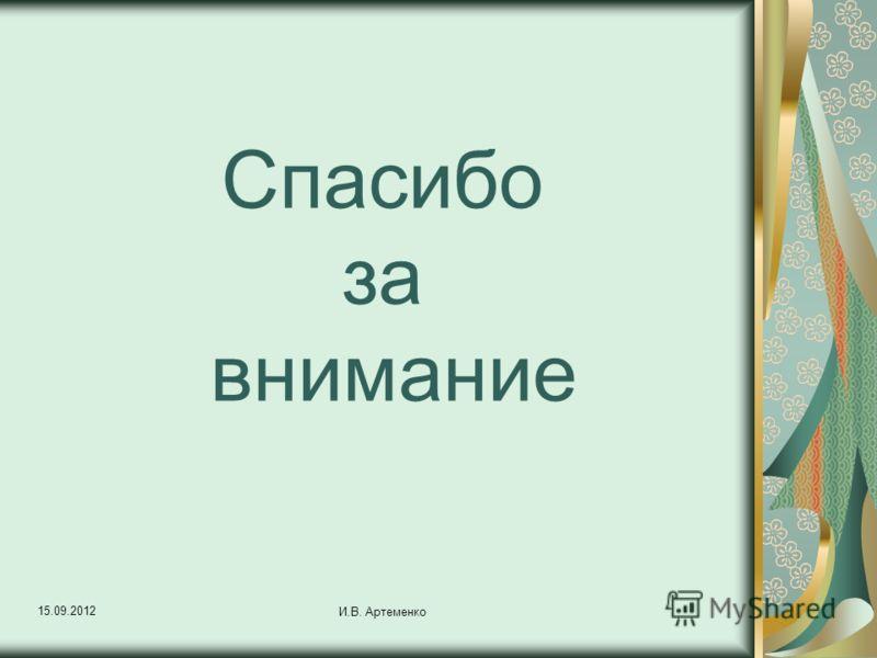 15.09.2012 И.В. Артеменко Спасибо за внимание