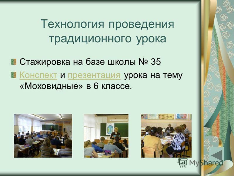 Технология проведения традиционного урока Стажировка на базе школы 35 КонспектКонспект и презентация урока на тему «Моховидные» в 6 классе.презентация