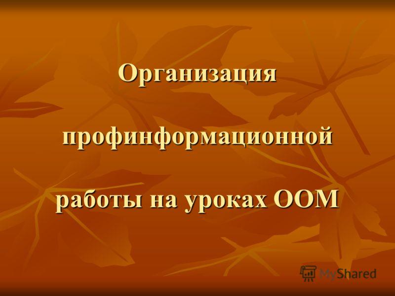 Организация профинформационной работы на уроках ООМ