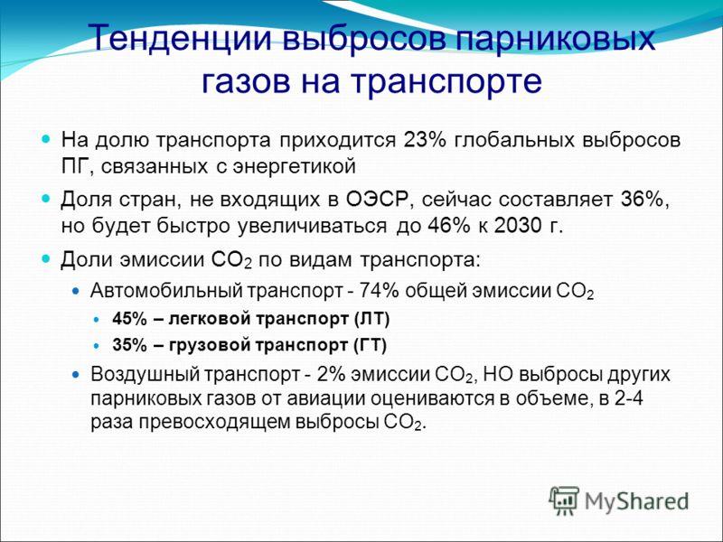 Тенденции выбросов парниковых газов на транспорте На долю транспорта приходится 23% глобальных выбросов ПГ, связанных с энергетикой Доля стран, не входящих в ОЭСР, сейчас составляет 36%, но будет быстро увеличиваться до 46% к 2030 г. Доли эмиссии CO