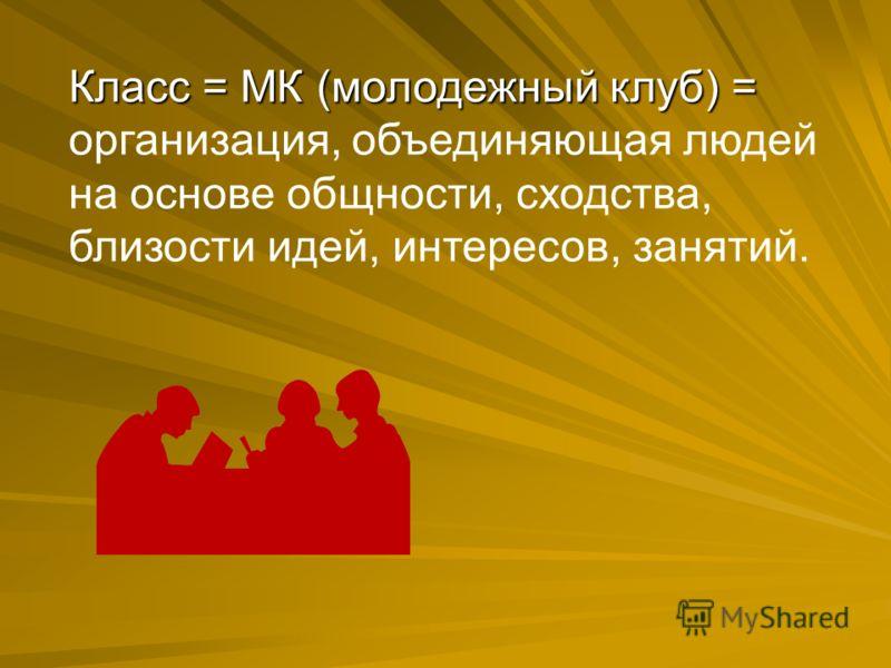 Класс = МК (молодежный клуб) = Класс = МК (молодежный клуб) = организация, объединяющая людей на основе общности, сходства, близости идей, интересов, занятий.