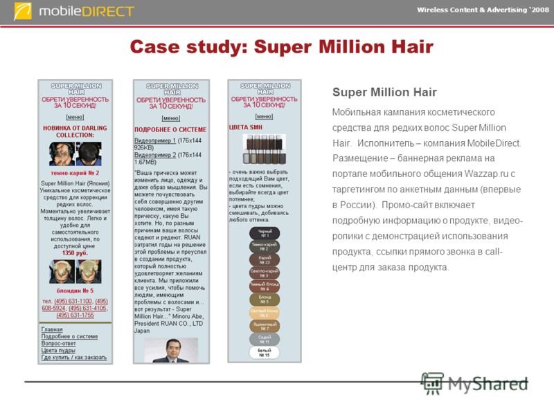 Wireless Content & Advertising 2008 Case study: Super Million Hair Super Million Hair Мобильная кампания косметического средства для редких волос Super Million Hair. Исполнитель – компания MobileDirect. Размещение – баннерная реклама на портале мобил