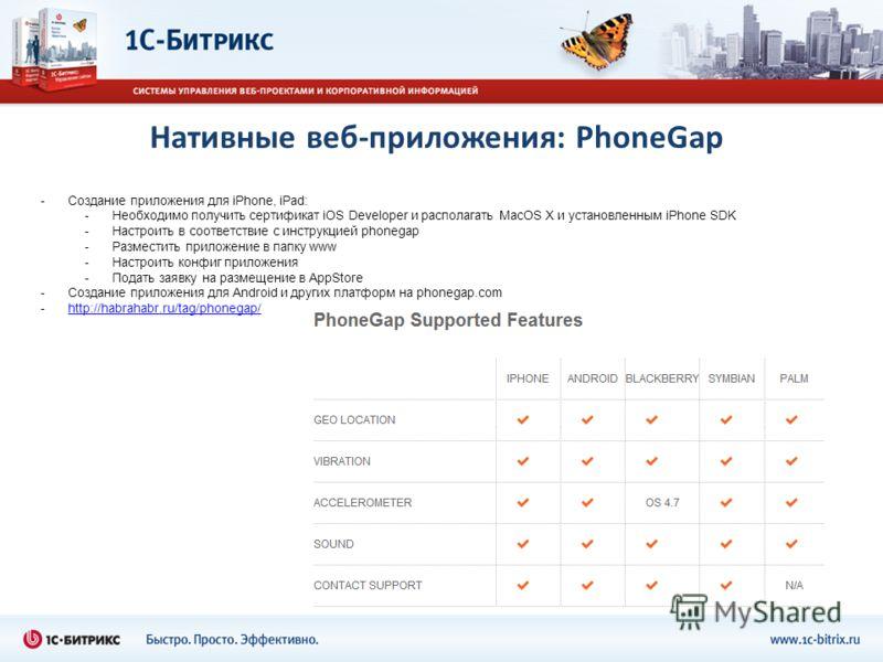 Нативные веб-приложения: PhoneGap -Создание приложения для iPhone, iPad: -Необходимо получить сертификат iOS Developer и располагать MacOS X и установленным iPhone SDK -Настроить в соответствие с инструкцией phonegap -Разместить приложение в папку ww