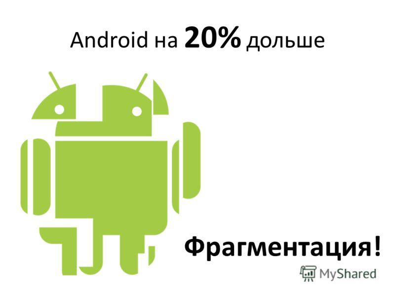Android на 20% дольше Фрагментация!