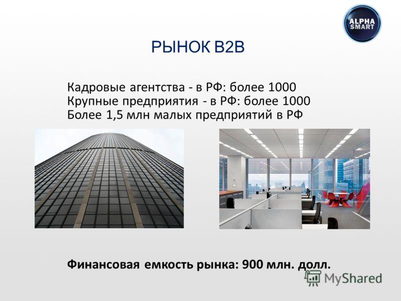 Кадровые агентства - в РФ: более 1000 Крупные предприятия - в РФ: более 1000 Более 1,5 млн малых предприятий в РФ Финансовая емкость рынка: 900 млн. долл. РЫНОК B2B