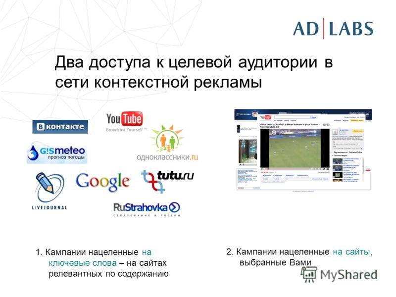 Два доступа к целевой аудитории в сети контекстной рекламы 1. Кампании нацеленные на ключевые слова – на сайтах релевантных по содержанию 2. Кампании нацеленные на сайты, выбранные Вами