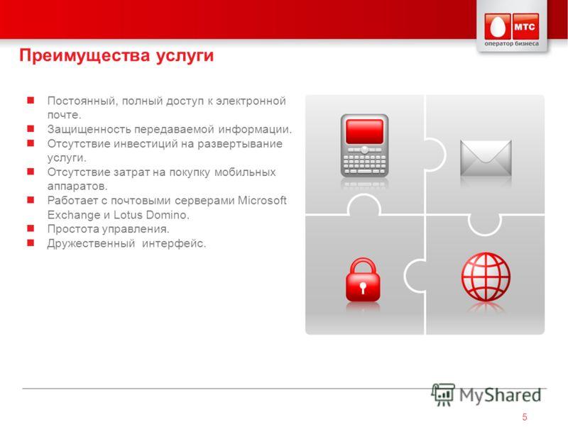 5 Преимущества услуги Постоянный, полный доступ к электронной почте. Защищенность передаваемой информации. Отсутствие инвестиций на развертывание услуги. Отсутствие затрат на покупку мобильных аппаратов. Работает с почтовыми серверами Microsoft Excha