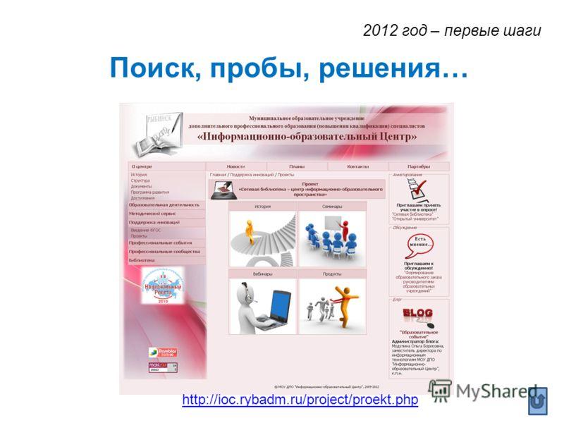 Поиск, пробы, решения… http://ioc.rybadm.ru/project/proekt.php 2012 год – первые шаги