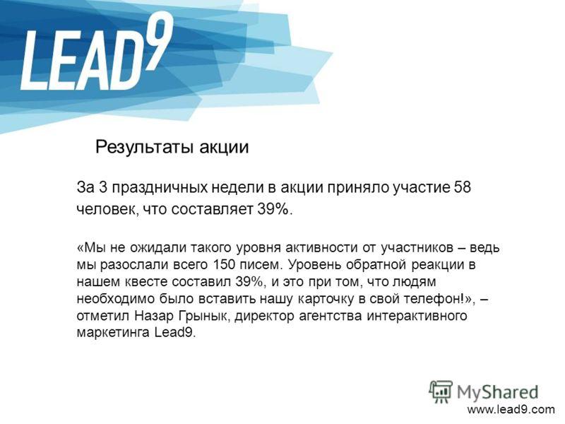 www.lead9.com Результаты акции За 3 праздничных недели в акции приняло участие 58 человек, что составляет 39%. «Мы не ожидали такого уровня активности от участников – ведь мы разослали всего 150 писем. Уровень обратной реакции в нашем квесте составил