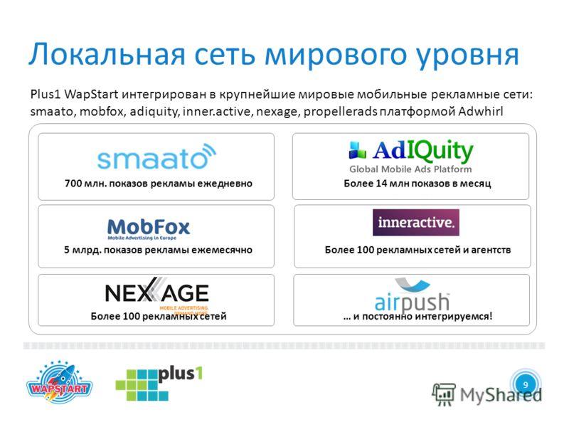 Более 14 млн показов в месяц Более 100 рекламных сетей и агентств … и постоянно интегрируемся! 15 9 Plus1 WapStart интегрирован в крупнейшие мировые мобильные рекламные сети: smaato, mobfox, adiquity, inner.active, nexage, propellerads платформой Adw
