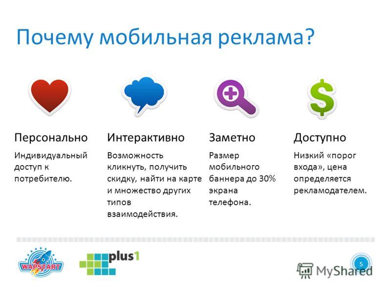 4 Почему мобильная реклама? 5 Персонально Индивидуальный доступ к потребителю. Интерактивно Возможность кликнуть, получить скидку, найти на карте и множество других типов взаимодействия. Заметно Размер мобильного баннера до 30% экрана телефона. Досту
