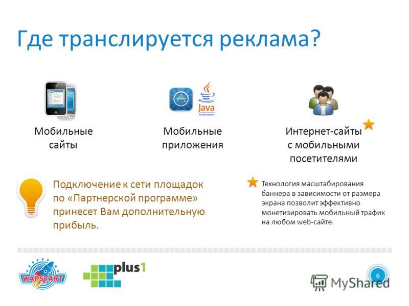 6 Где транслируется реклама? 6 Технология масштабирования баннера в зависимости от размера экрана позволит эффективно монетизировать мобильный трафик на любом web-сайте. Подключение к сети площадок по «Партнерской программе» принесет Вам дополнительн