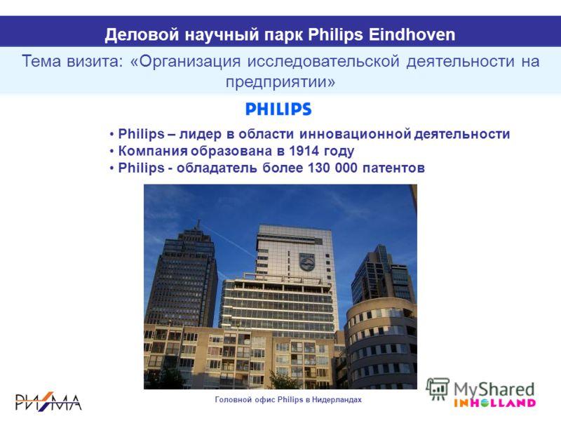 Philips – лидер в области инновационной деятельности Компания образована в 1914 году Philips - обладатель более 130 000 патентов Тема визита: «Организация исследовательской деятельности на предприятии» Головной офис Philips в Нидерландах Деловой науч
