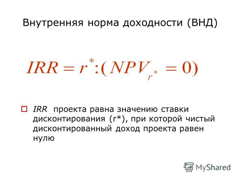 Внутренняя норма доходности (ВНД) IRR проекта равна значению ставки дисконтирования (r*), при которой чистый дисконтированный доход проекта равен нулю
