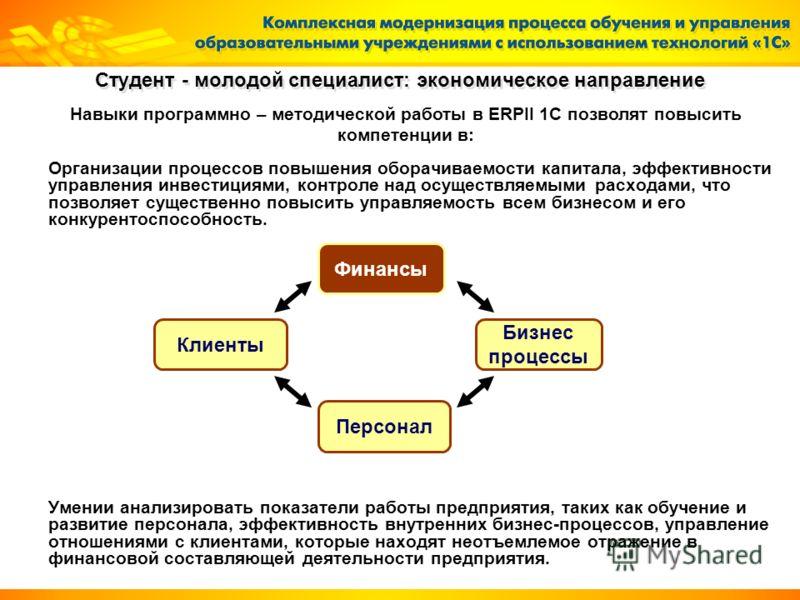 Организации процессов повышения оборачиваемости капитала, эффективности управления инвестициями, контроле над осуществляемыми расходами, что позволяет существенно повысить управляемость всем бизнесом и его конкурентоспособность. Умении анализировать