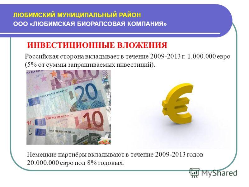 ЛЮБИМСКИЙ МУНИЦИПАЛЬНЫЙ РАЙОН ООО «ЛЮБИМСКАЯ БИОРАПСОВАЯ КОМПАНИЯ» ИНВЕСТИЦИОННЫЕ ВЛОЖЕНИЯ Российская сторона вкладывает в течение 2009-2013 г. 1.000.000 евро (5% от суммы запрашиваемых инвестиций). Немецкие партнёры вкладывают в течение 2009-2013 го