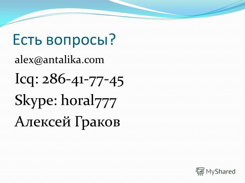 Есть вопросы? alex@antalika.com Icq: 286-41-77-45 Skype: horal777 Алексей Граков