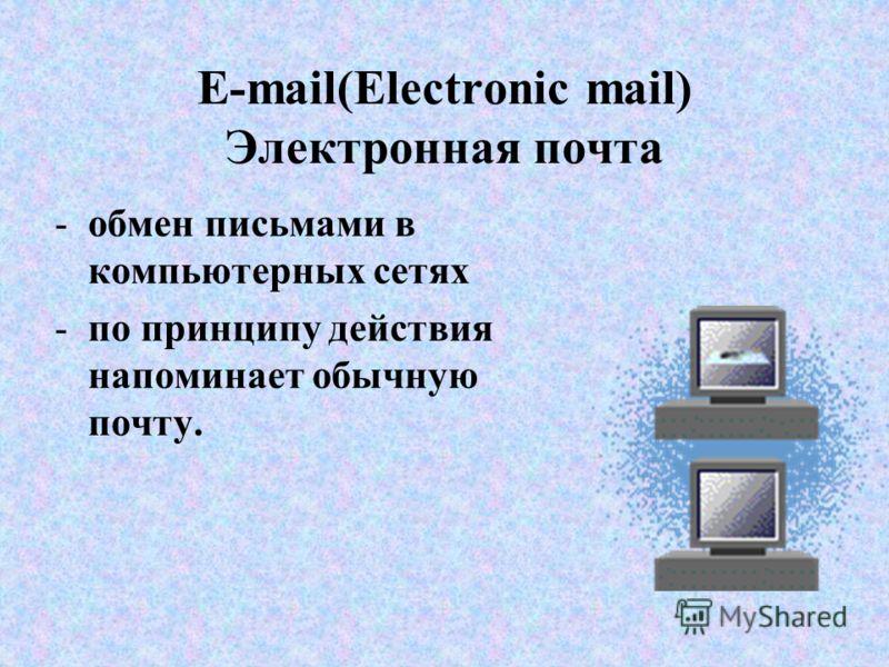 E-mail(Electronic mail) Электронная почта -обмен письмами в компьютерных сетях -по принципу действия напоминает обычную почту.