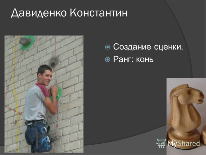 Давиденко Константин Создание сценки. Ранг: конь