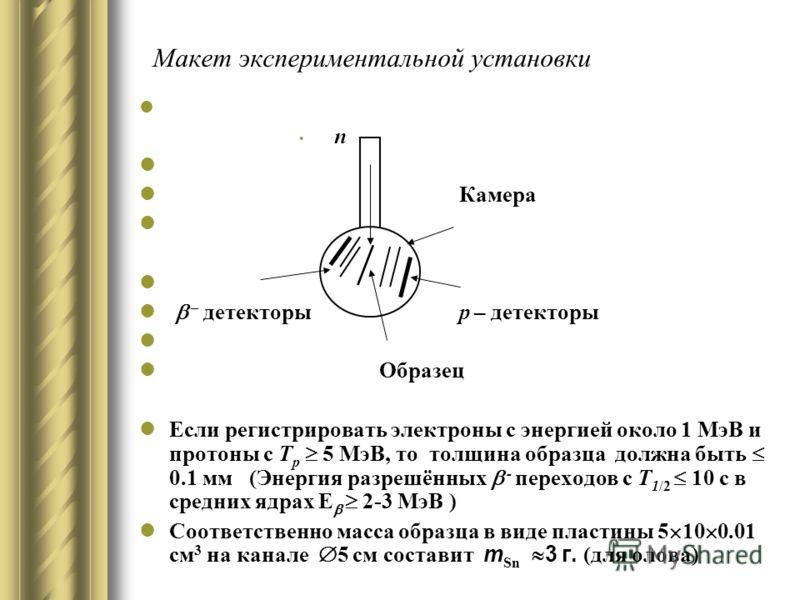 Макет экспериментальной установки n Камера – детекторы p – детекторы Образец Если регистрировать электроны с энергией около 1 МэВ и протоны с Т p 5 МэВ, то толщина образца должна быть 0.1 мм (Энергия разрешённых - переходов с T 1/2 10 с в средних ядр