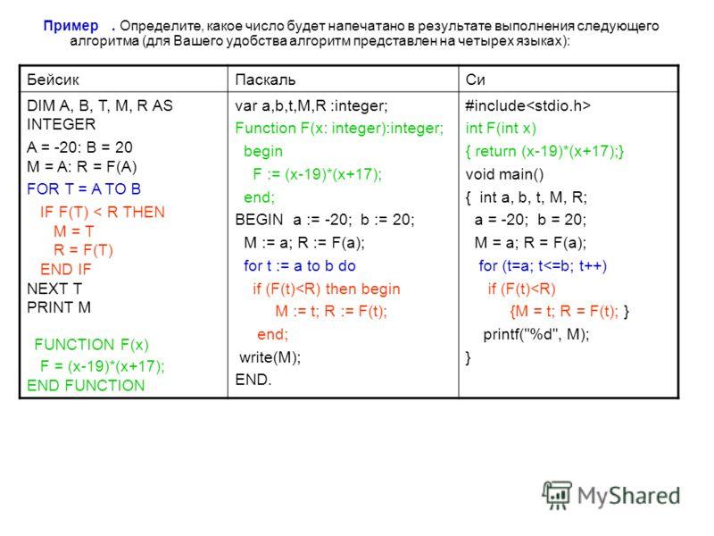 Пример. Определите, какое число будет напечатано в результате выполнения следующего алгоритма (для Вашего удобства алгоритм представлен на четырех языках): БейсикПаскальСи DIM A, B, T, M, R AS INTEGER A = -20: B = 20 M = A: R = F(A) FOR T = A TO B IF