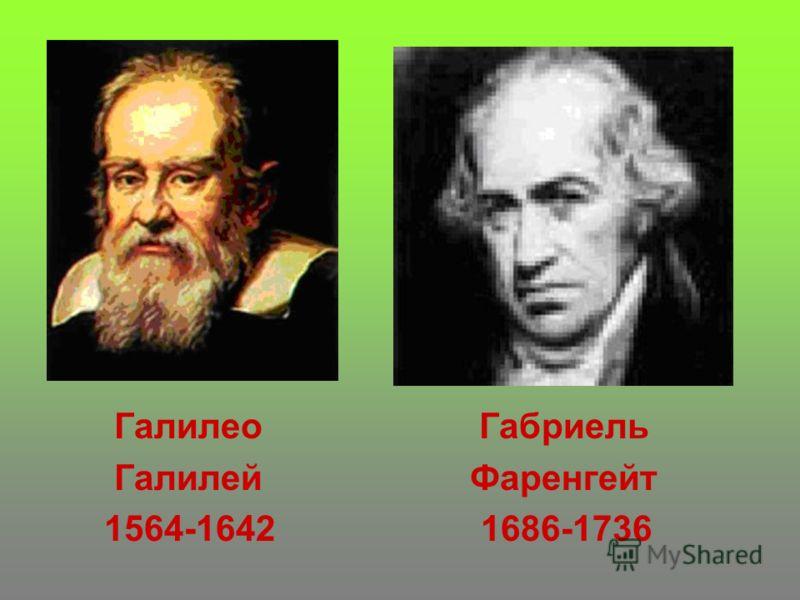 Галилео Габриель Галилей Фаренгейт 1564-1642 1686-1736