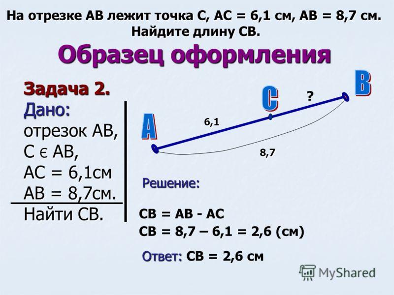 Образец оформления Задача 2. Дано: отрезок АВ, С Є АВ, АС = 6,1см АВ = 8,7см. Найти СВ. На отрезке АВ лежит точка С, АС = 6,1 см, АВ = 8,7 см. Найдите длину СВ. 6,1 8,7 Решение: ? СВ = АВ - АС СВ = 8,7 – 6,1 = 2,6 (см) Ответ: Ответ: СВ = 2,6 см