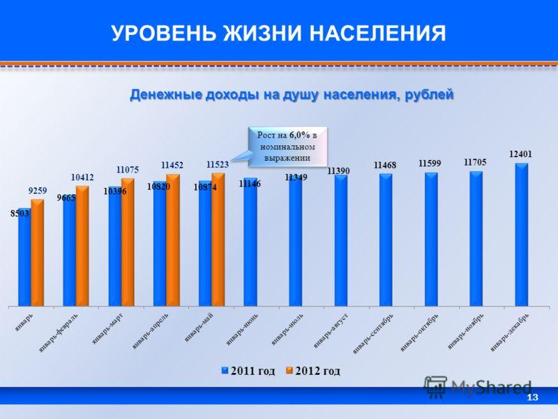 13 УРОВЕНЬ ЖИЗНИ НАСЕЛЕНИЯ Денежные доходы на душу населения, рублей Рост на 6,0% в номинальном выражении
