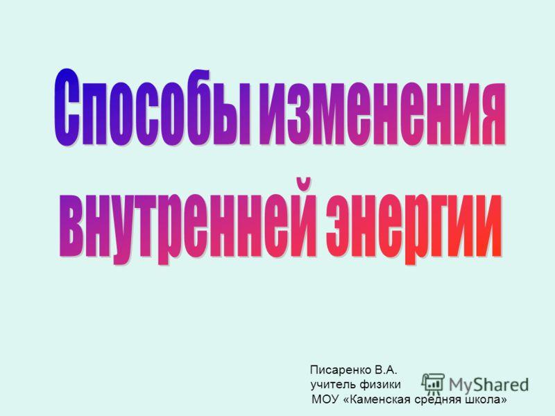 Писаренко В.А. учитель физики МОУ «Каменская средняя школа»