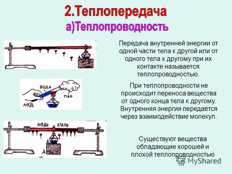 Передача внутренней энергии от одной части тела к другой или от одного тела к другому при их контакте называется теплопроводностью. При теплопроводности не происходит переноса вещества от одного конца тела к другому. Внутренняя энергия передаётся чер