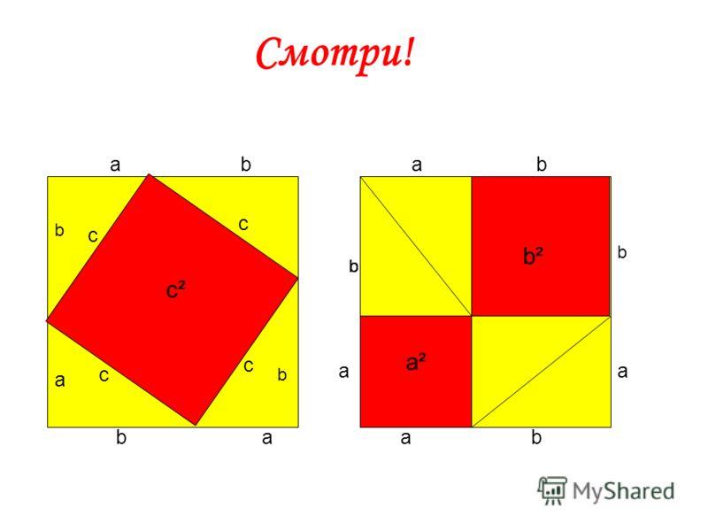 c 2 = a 2 + b 2 Евклид: «В прямоугольном треугольнике квадрат, натянутый над прямым углом, равен квадратам на сторонах, заключающих прямой угол»