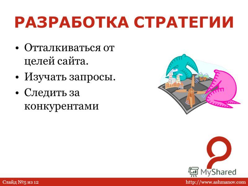 http://www.ashmanov.comСлайд 5 из 12 РАЗРАБОТКА СТРАТЕГИИ Отталкиваться от целей сайта. Изучать запросы. Следить за конкурентами