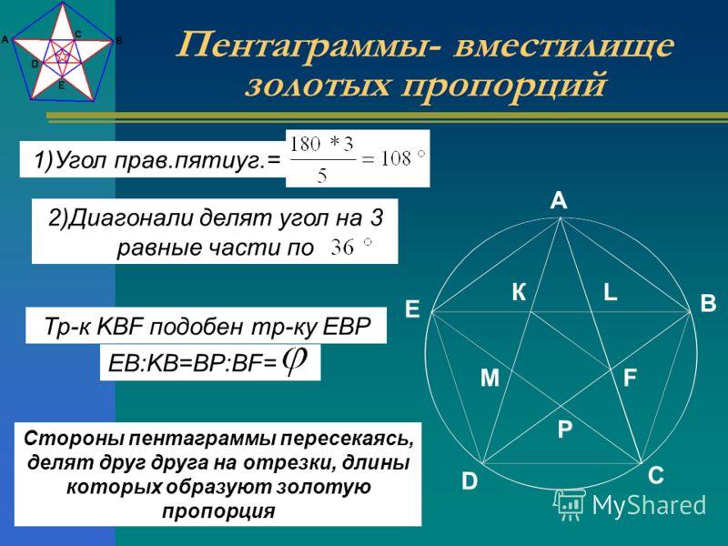 КL FM P C B A E D 1)Угол прав.пятиуг.= 2)Диагонали делят угол на 3 равные части по Пентаграммы- вместилище золотых пропорций EB:KB=BP:BF= Стороны пентаграммы пересекаясь, делят друг друга на отрезки, длины которых образуют золотую пропорция Тр-к KBF