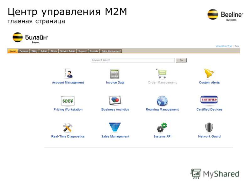 Центр управления М2М главная страница