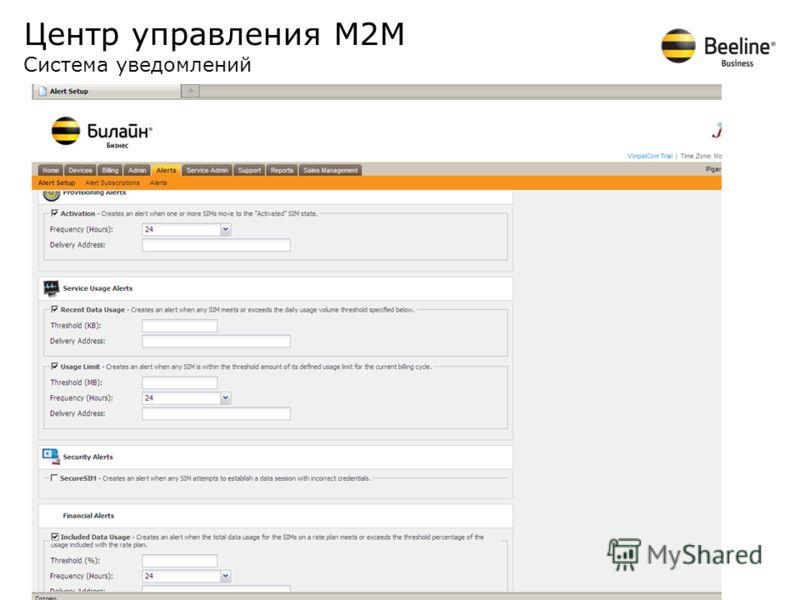 Центр управления М2М Система уведомлений