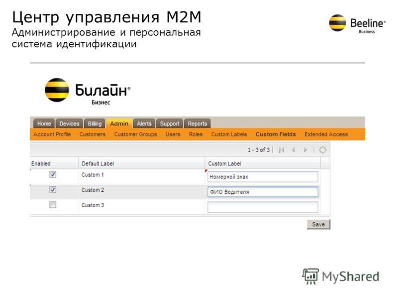 Центр управления М2М Администрирование и персональная система идентификации