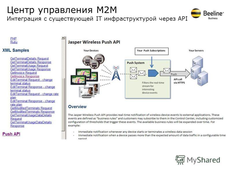 Центр управления М2М Интеграция с существующей IT инфраструктурой через API