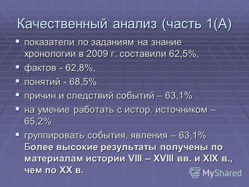 Качественный анализ (часть 1(А) показатели по заданиям на знание хронологии в 2009 г. составили 62,5%, показатели по заданиям на знание хронологии в 2009 г. составили 62,5%, фактов - 62,8%, фактов - 62,8%, понятий - 68,5% понятий - 68,5% причин и сле