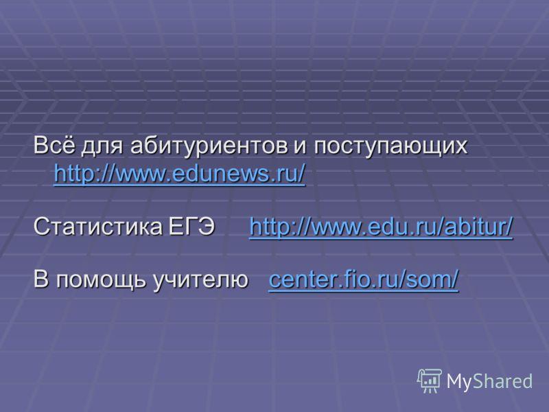 Всё для абитуриентов и поступающих http://www.edunews.ru/ http://www.edunews.ru/ Статистика ЕГЭ http://www.edu.ru/abitur/ http://www.edu.ru/abitur/ В помощь учителю center.fio.ru/som/ center.fio.ru/som/