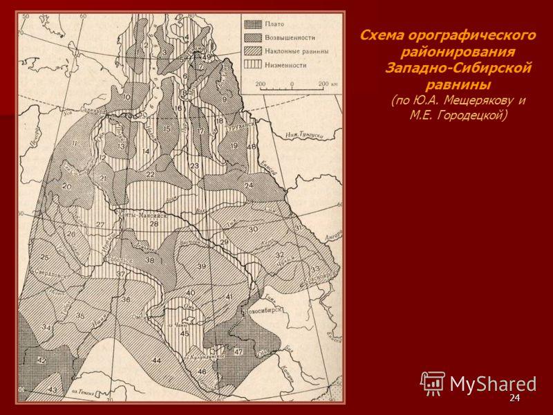 24 Схема орографического районирования Западно-Сибирской равнины (по Ю.А. Мещерякову и М.Е. Городецкой)