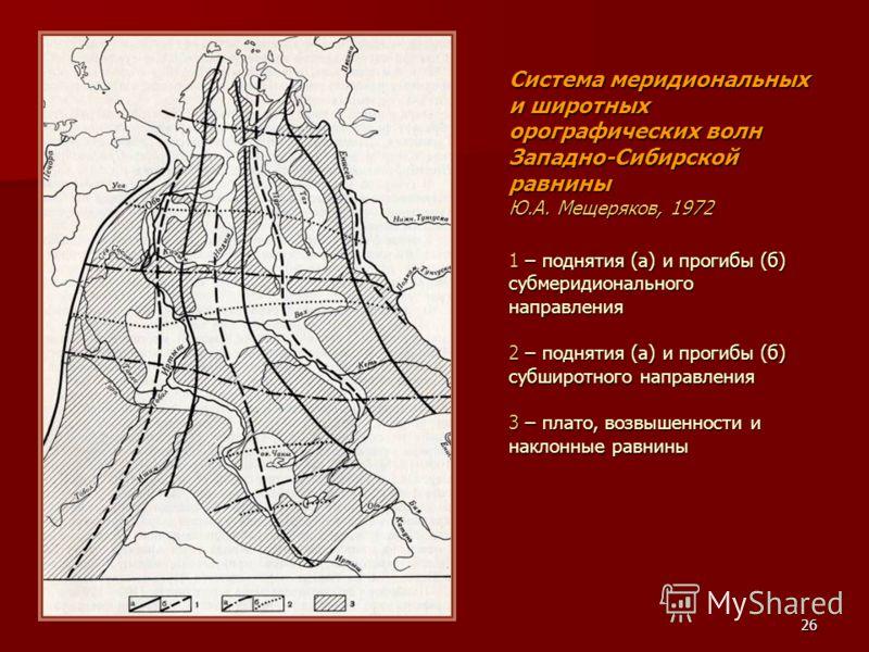 26 Система меридиональных и широтных орографических волн Западно-Сибирской равнины Ю.А. Мещеряков, 1972 1 – поднятия (а) и прогибы (б) субмеридионального направления 2 – поднятия (а) и прогибы (б) субширотного направления 3 – плато, возвышенности и н