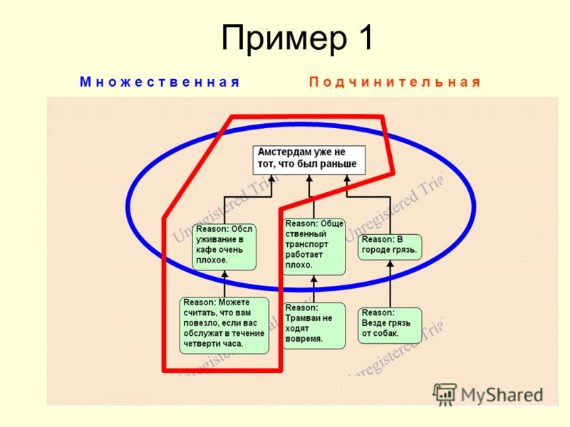 Пример 1 М н о ж е с т в е н н а яП о д ч и н и т е л ь н а я