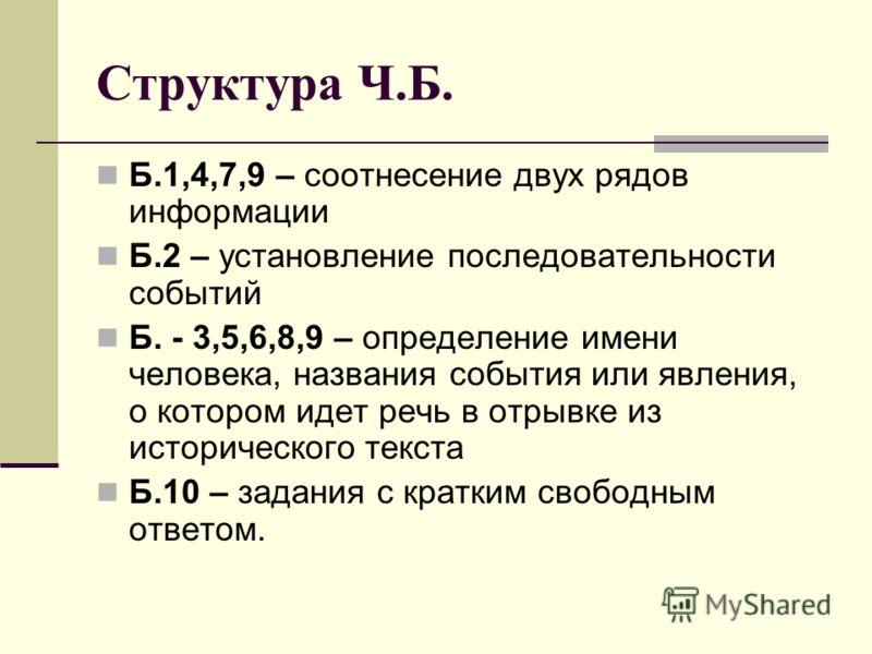 Структура Ч.Б. Б.1,4,7,9 – соотнесение двух рядов информации Б.2 – установление последовательности событий Б. - 3,5,6,8,9 – определение имени человека, названия события или явления, о котором идет речь в отрывке из исторического текста Б.10 – задания